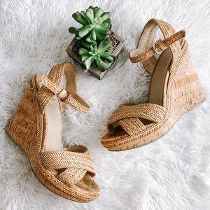 Stuart Weitzman Minx Woven Cork Wedge Sandal